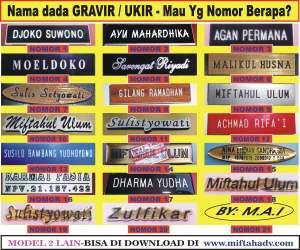 JASA NAMA DADA/NAME TAG GRAVIR