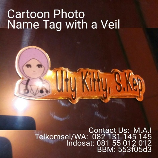 Cartoon Name tag with a veil