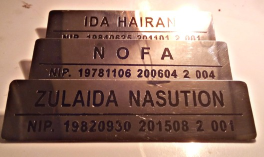 Stainless name tag of MAI