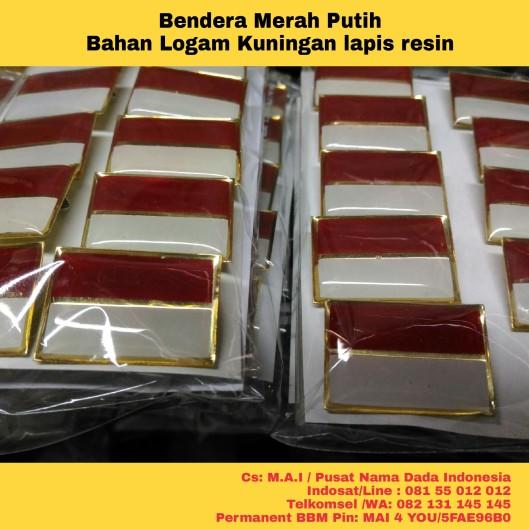 bendera merah putih, bahan logam kuningan lapis resin